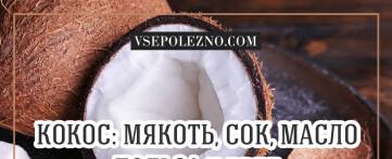 Кокос: мякоть, сок, масло. Польза и вред